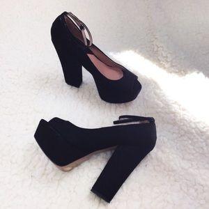 Zara Black suede platform heels